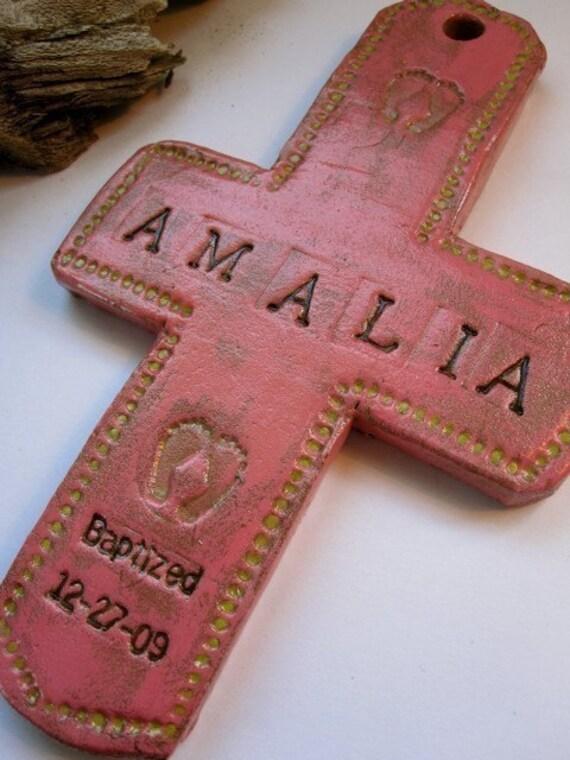 Baptismal cross for girl (dark pink)
