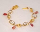 Pink Tourmaline with Rock Crystal Bracelet
