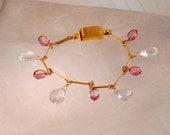 White Topaz & Pink Quartz GF bracelet
