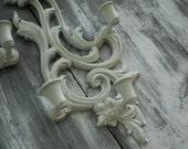 Vintage Syroco Sconces Ivory Wedding/Shabby Chic