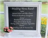 "WEDDING MENU DISPLAY -Attached Stand- Tabletop Menu Display - Reception Signs Wedding Standing Chalk board 31""x27"" Shabby Chic Wedding"