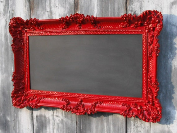 HOLLYWOOD REGENCY CHALKBOARD Red Baroque Wedding Restaurant French Country 36inx21in Menu Board Seating Chart Memo Board Wedding Announcement Created by RevivedVintage