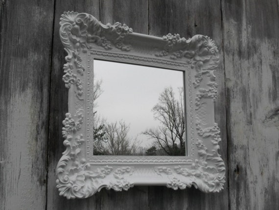 Hollywood regency mirror white baroque shabby by for Baroque mirror canada