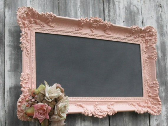 HOLLYWOOD REGENGY WEDDING Chalkboard Baroque Ornate Nursery Memo Board Decor Baby Girl Shabby Chic Kitchen Restaurant French Country 36inx21in Pink Menu Board Seating Created by Revivedvintage.etsy.com