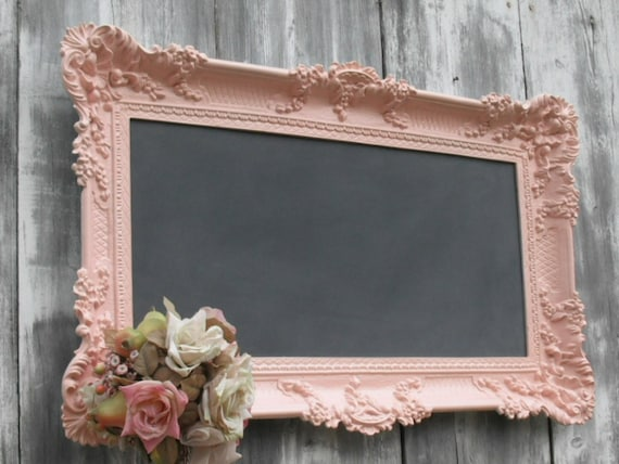 HOLLYWOOD REGENCY WEDDING Chalkboard Pink Baroque Ornate Girl Nursery French Country Kitchen 36inx21in Shabby Chic Cottage Romantic