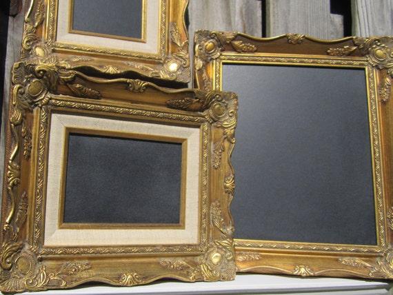 Wedding Chalkboards SET OF THREE Chalk boards French Country Decor Gold Baroque Blackboard Chalkboard