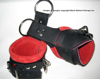 Suspension Cuffs Leather Black lined with RED