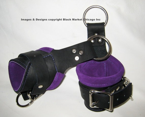 BDSM Bondage Suspension Cuffs Leather Black lined with PURPLE suede