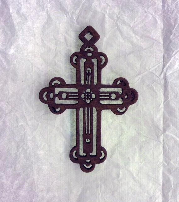 Destash Wooden Cross Pendant - Lovely Laser Cut Ornate Cross
