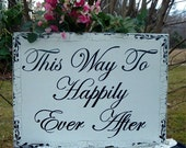 Happily Ever After Wedding Signs Shabby Chic Wood Sign 24 x 18