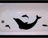 Non-skid vinyl decal for bathtub, shower Dolphins