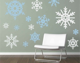 16 Large and Small Snowflakes Vinyl Wall Decals
