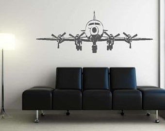 Huge 4 Engine Airplane Vinyl Wall Decal