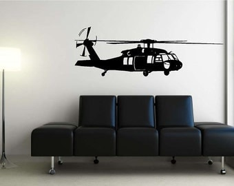 Huge Black Hawk Helicopter Vinyl Wall Decal