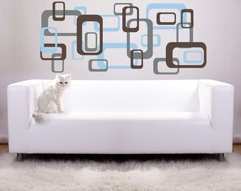 24 Large Retro Squares Vinyl Wall Decal