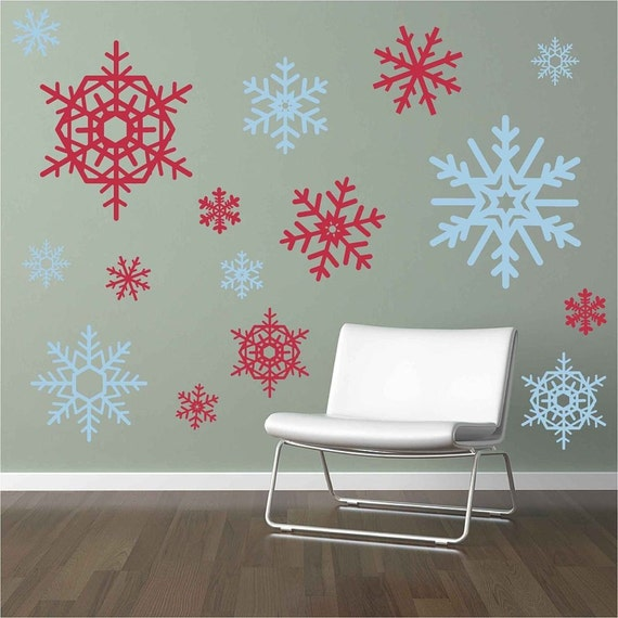 Attrayant 16 Large And Small Snowflakes Vinyl Wall Decals