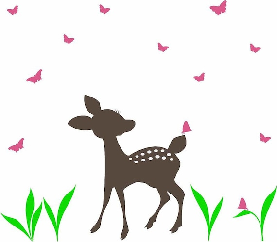 Fawn and Butterflies Vinyl Wall Decal