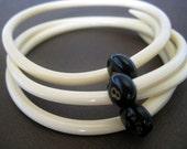 Repurposed - Upcycled - Vintage Knitting Needle Bracelets/ Bangles Set Of 3- Art Deco White -  MEDIUM