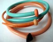 Vintage knitting needle bracelets Turquoise Peach LARGE