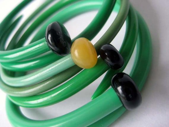 Upcycled Knitting needle bracelets-Set of 4 -Lime Cocktail -MEDIUM