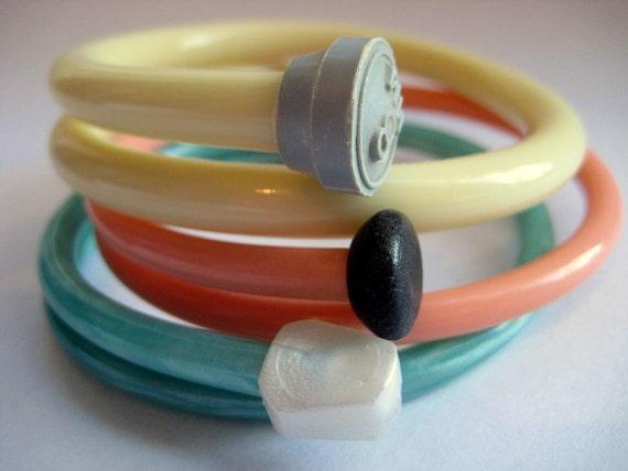 Knitting Needle Bracelets Strawberry Mint  Large