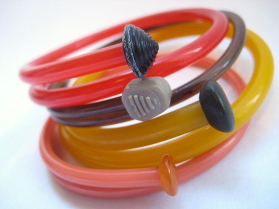 Upcycled Knitting Needle Bracelets Autumn Warmth Medium