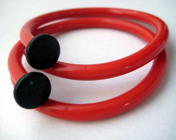 Recycled Knitting Needle Bracelets Valentine Pair  SMALL