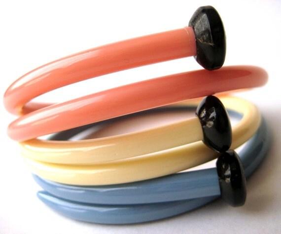 Recycled Vintage Knitting Needle Bracelets Summer Pastels LARGE