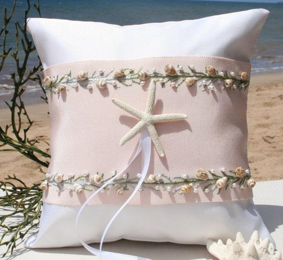 Items Similar To Beach Wedding Ring Pillow Vintage Ribbon On Etsy