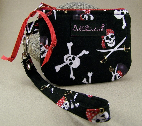 SALE Zippered Gadget Wristlet for IPod, Cell Phones, Small Cameras, MP3 Players, I.D., Credit Cards, Change, Knitting Notions Pouch, Etc.