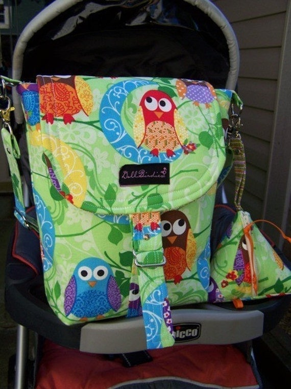 Diaper  Stroller Mini Bag with Matching Paci Pod and Changing Pad Ready to Ship