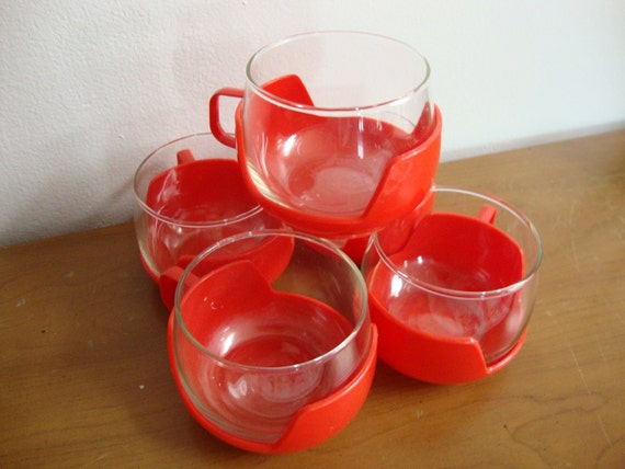 5pc Set Vintage Drinking Glasses with Removable Handle