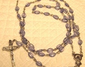 Reserve for Linda Vintage Adult Rosary Lavender Oval Beaded