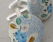 pair of handmade button cufflinks in Liberty style fabric handmade in UK