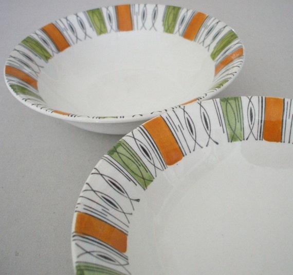 set of 2  1960s staffordhsire bowls retro design made in England