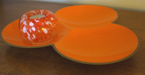 sunburst autumn orange  plastic 1970s modernist serving dish