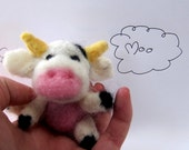 The Laughing cow needle felted plush art doll ooak