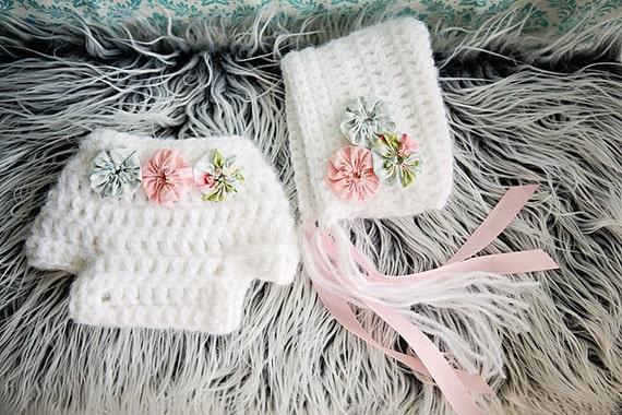Newborn Crochet Bonnet And Diaper Cover Set