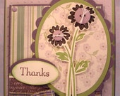 Thank You Card with Green and Lavender Flowers