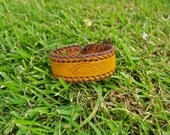EcoMustardYellow Hand Stitched Engraved Leather Bracelet 2 cm (Custom)