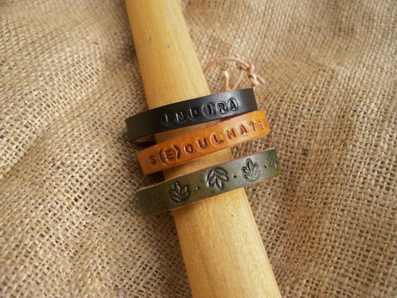 Mix and Match Engraved Leather Bracelets Trio