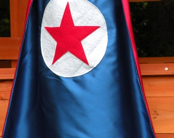 Super hero cape - Kids double sided Star cape - Red white and blue STAR Cape - boy or girl birthday gift - super hero party cape - Kid Gift