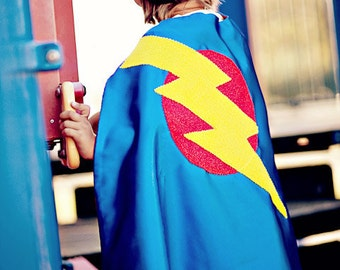 SUPER HERO CAPE -Childrens Big Bolt Cape-As seen on Oxygens Tori and Dean Home Sweet Hollywood