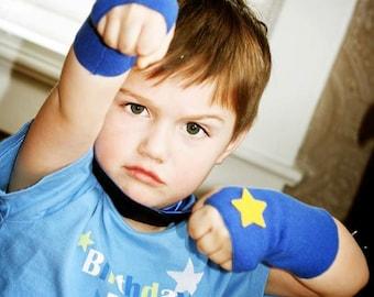Childrens Superhero Lightning Bolt Fingerless Glove Accessory Set - make believe gift - READY TO SHIP - Hero Arm Bands - Halloween Ready