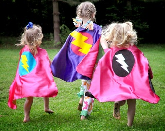 Halloween Ready - Fast Shipping - GIRLS SUPER HERO cape -Choose from 3 designs - Girl birthday gift - Super hero party capes