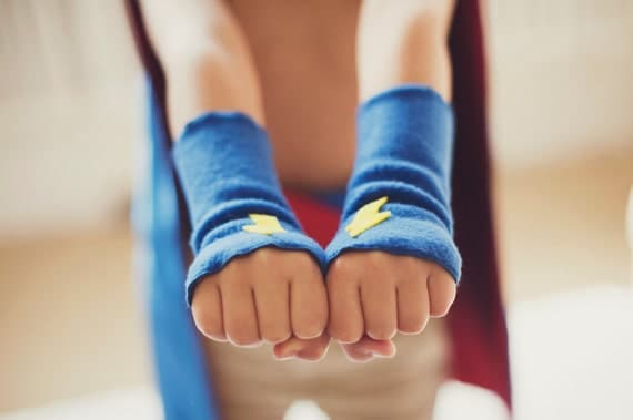 READY to SHIP EVERYDAY - Childrens Superhero Accessory Power Cuffs fingerless glove accessory - Hero Arm Bands - Halloween Accessory