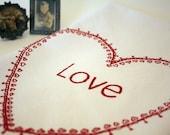 Valentine Tea Towel in white, Hand Screen Printed