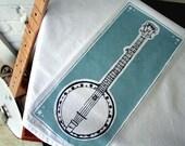 Tea Towel. Banjo. Hand Screen Printed.