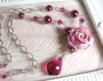 Romantic Pinks - Nature Inspired Necklace - Lillian Rose Necklace - Rose Statement Necklace - Lovely Bridal Necklace