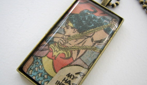 Retro Comic Wonder Woman Pendant - Vintage Chic - Made to Order